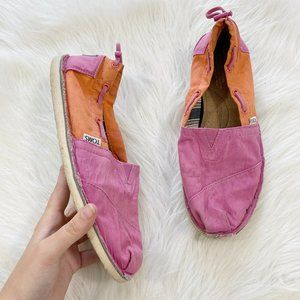 TOMS Bimini Pink Orange Colorblock Slip On Flat